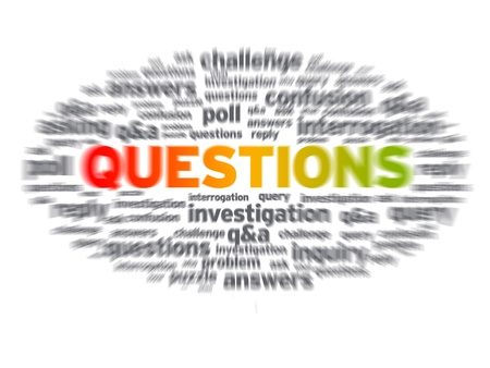 questions: Blurred Questions word illustration on white background.
