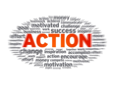 Blurred action word illustration on white background. illustration