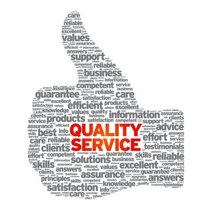 品質サービス図は白い背景の上の親指。