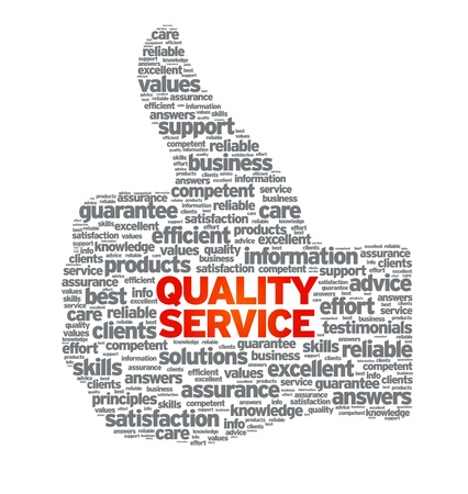 zufriedenheitsgarantie: Quality Service Thumbs up Illustration auf wei�em Hintergrund. Illustration