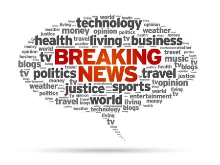 Breaking News tekstballon illustratie op witte achtergrond.