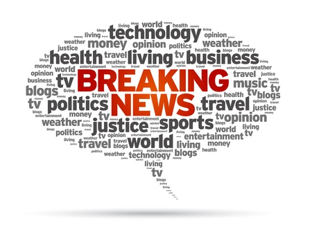 Rompiendo discurso Noticias ilustración burbuja sobre fondo blanco.