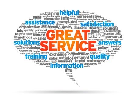マンガの吹き出し: 偉大なサービスの単語の白い背景の上の吹き出し。