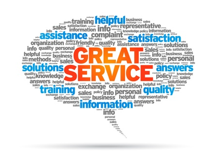 speech bubble: Grande bulle mot Service sur fond blanc.