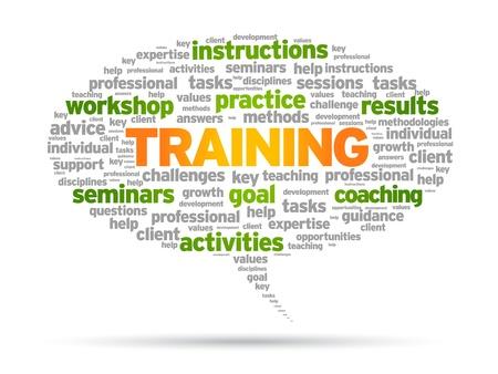 coaching: Formation mot bulle illustration sur fond blanc.