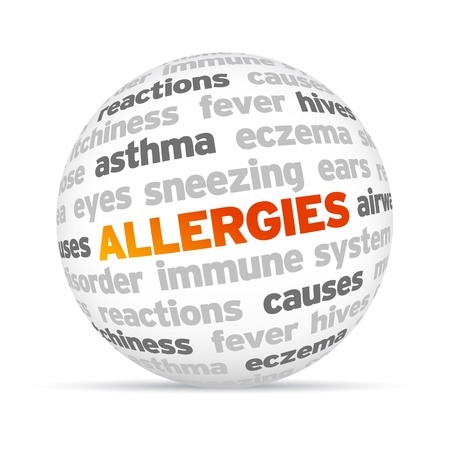 3d Allergies Word Sphere on white background. Stock fotó - 15400637