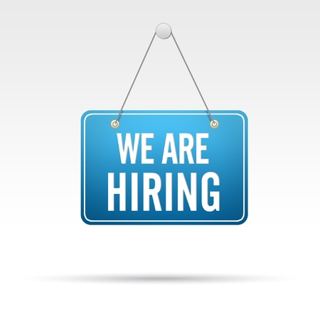 we: We Are Hiring Store Sign