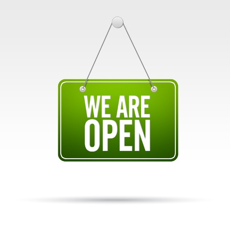 open spaces: We Are Open Store Sign