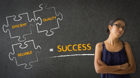 A woman standing next to a Success Formula illustration.  illustration