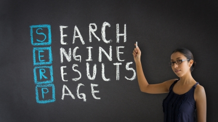 search results: Woman pointing at an Search Engine Results Pagellustration. Stock Photo