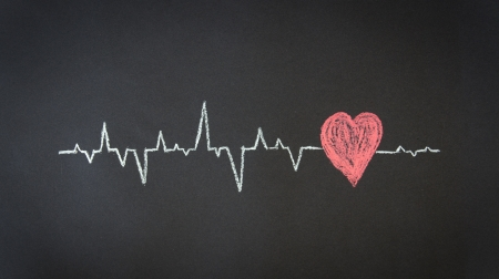 Krijt Illustratie van een Heartbeat Diagram. Stockfoto