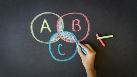 theories: A Person drawing a Venn Diagram with chalk on a blackboard Stock Photo