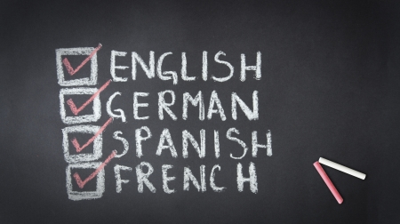 Chalk drawing of English, German, Spanish, French check list  photo