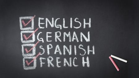 language school: Chalk drawing of English, German, Spanish, French check list