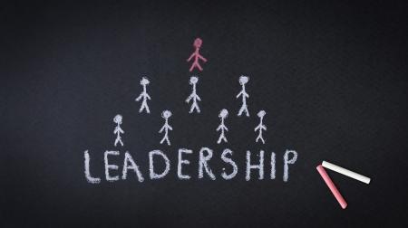 Leadership chalk drawing illustration on dark background Stock Illustration - 18549243