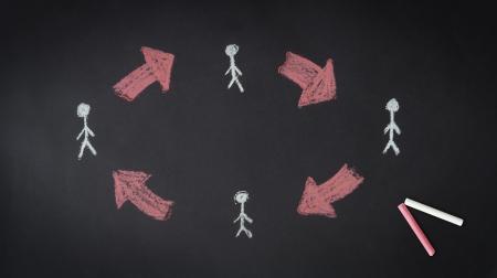 A chalk partnership network illustration on a blackboard