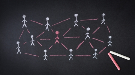 Person drawing a People Network illustration with chalk on a blackboard