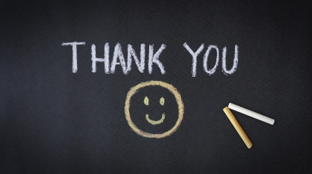 many thanks: Thank you chalk drawing with smiley face  Stock Photo