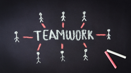Chalk drawing of a Teamwork illustration on dark background  Stock Illustration - 18549261