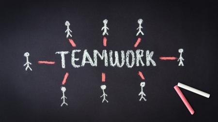 Chalk drawing of a Teamwork illustration on dark background Stock Illustration - 18549261