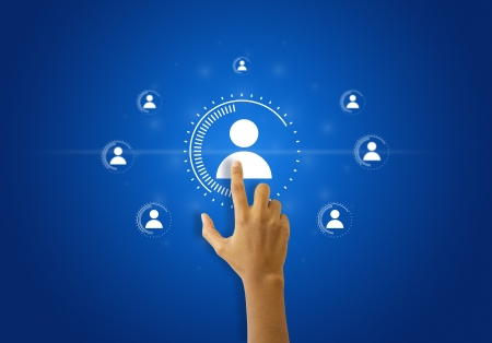 A person touching Social Network illustration on blue background.