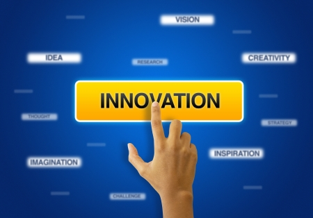 A person touching a innovation icon on blue background