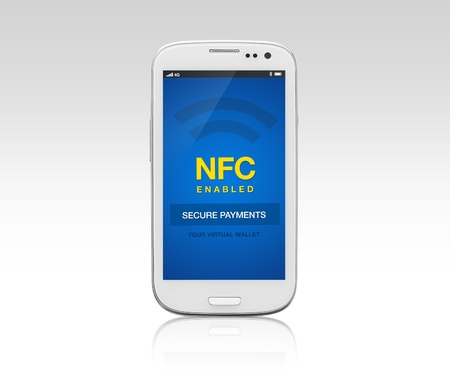 A NFC enabled mobile phone with reflection on gradient background