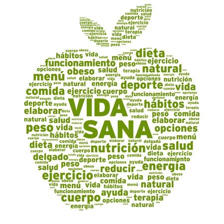 健康的な生活アップル単語雲図