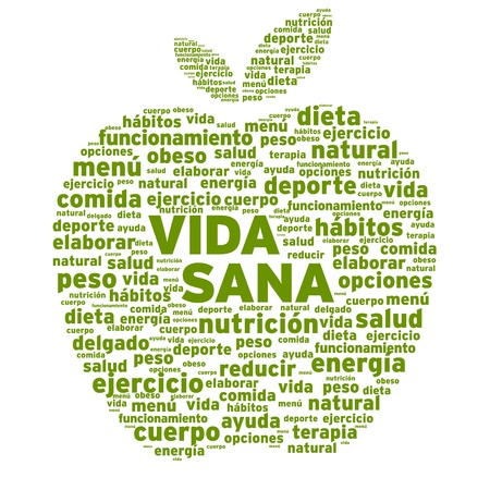 Healthy Living Apple Word Cloud Illustration Çizim