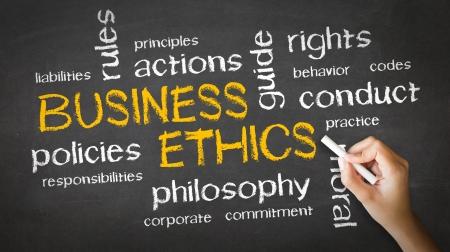 etica: Una persona de dibujo y apuntando a una ética empresarial Tiza