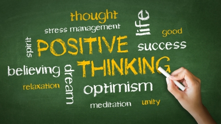 positive positivity: A person drawing and pointing at a Positive Thinking Chalk Drawing Stock Photo