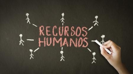 relaciones laborales: Una persona de dibujo y apuntando a un dibujo de tiza de los recursos humanos