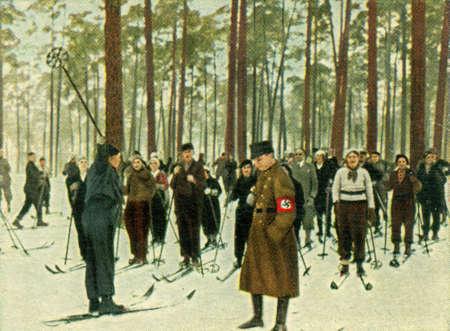 CIRCA 1933: Rare German vintage cigarette card from the 1933 Der Staat der Arbeit und des Friedens album, Part 2, Picture 251. Stock Photo - 19997028
