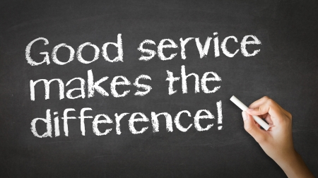 courtesy: A person drawing and pointing at a Good Service makes the difference Chalk Illustration