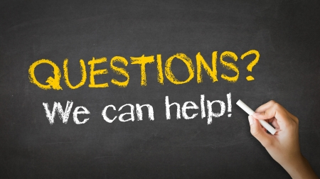 can we help: A person drawing and pointing at a Questions, we can help Chalk Illustration