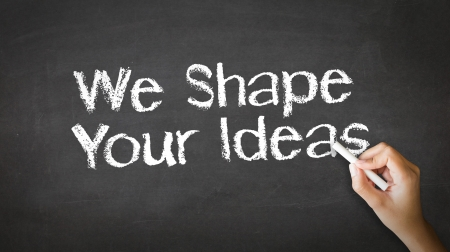 A person drawing and pointing at a We Shape Your Ideas Chalk Illustration
