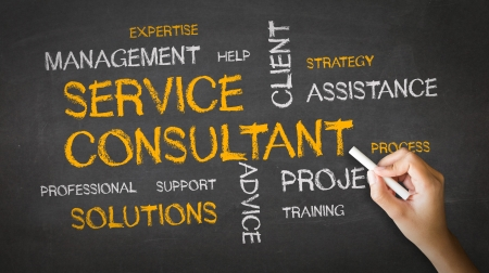 A person drawing and pointing at a Service Consultant Chalk Illustration