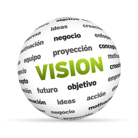 originality: 3d text Sphere with the vision related words.  Stock Photo