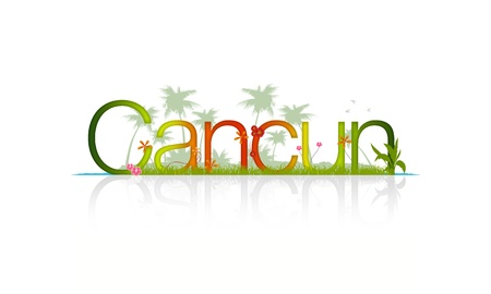 The word Cancun, Mexico surrounded by Water, beach, palm trees and flowers.