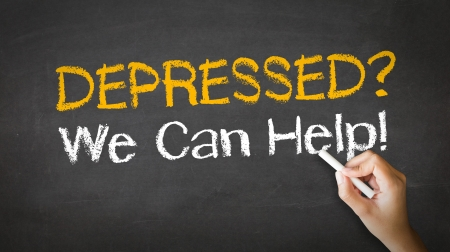 can we help: A person drawing and pointing at a Depressed we can help Chalk Illustration
