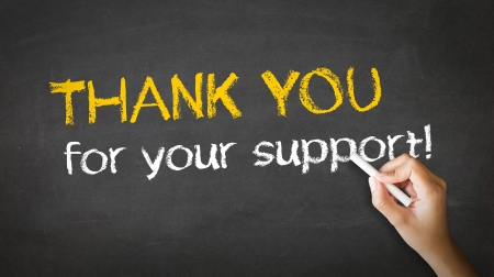 donations: A person drawing and pointing at a Thank you for your support Chalk Illustration