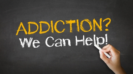 can we help: A person drawing and pointing at a Addiction We can Help Chalk Illustration