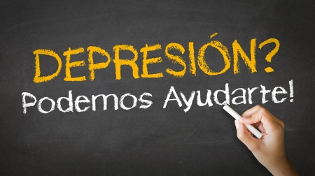 A person drawing and pointing at a Depression we can help Chalk Illustration Stock Illustration - 20895849