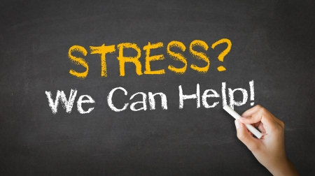 can we help: A person drawing and pointing at a Stress we can help Chalk Illustration