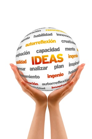 inventing: Hands holding a 3D Ideas Word Sphere on white background