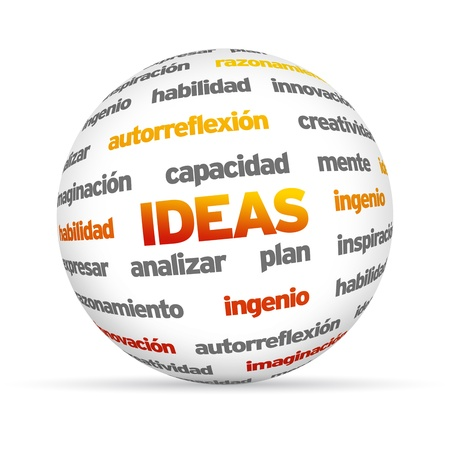 inventing: 3d Design Word Sphere on white background