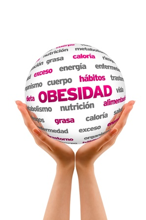 A person  holding a 3D Obesity Sphere ilsolated on white. Stock Photo - 20896132