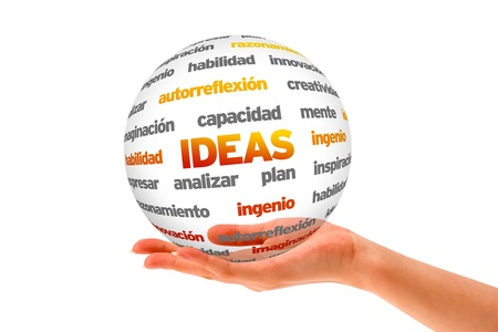 A person  holding a 3D Ideas Word Sphere ilsolated on white. Stock Photo - 20896136