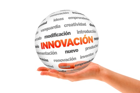 A person  holding a 3D Innovation Sphere ilsolated on white. Stock Photo - 20896139