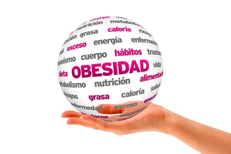 A person  holding a 3D Obesity Sphere ilsolated on white. Stock Photo - 20896141